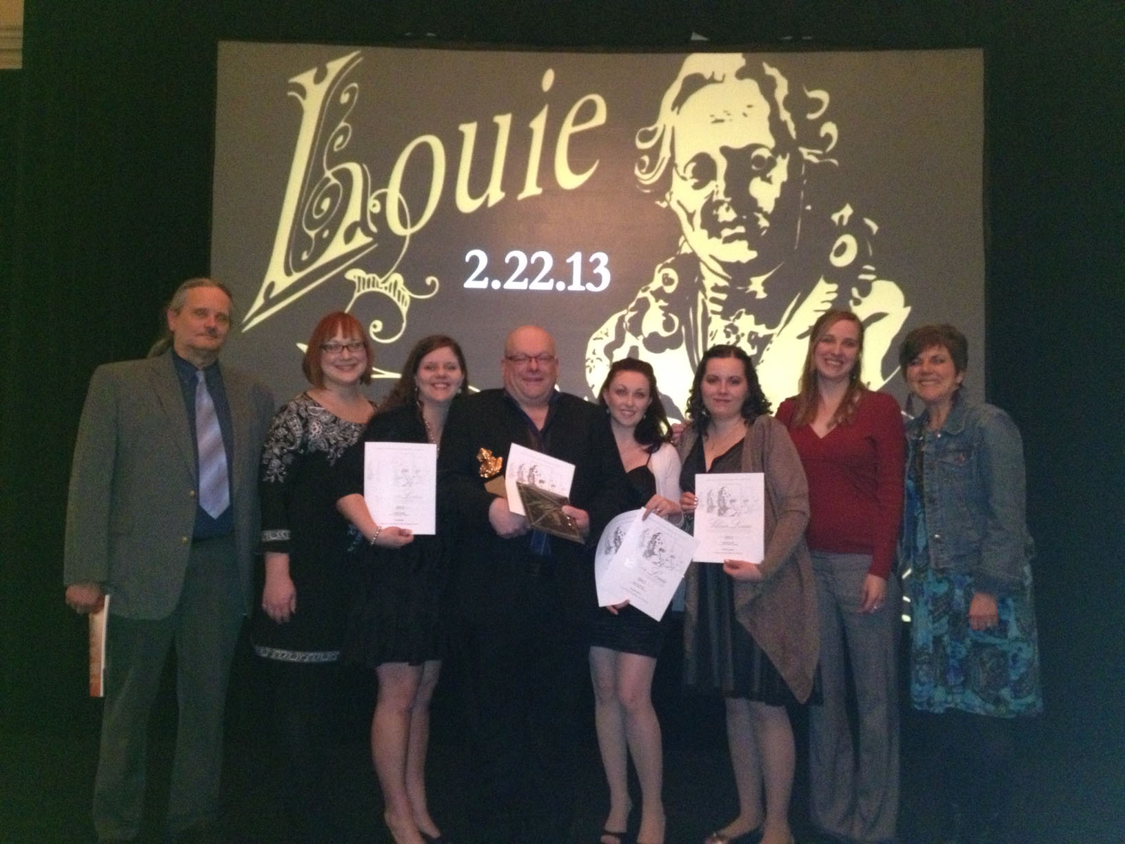 Ivy Tech School of Fine Arts + Design students, faculty, and staff celebrate the winners at the Advertising Federation Louie Awards!