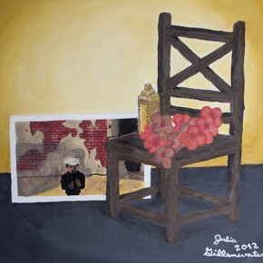 """Julia Gillenwater Sophomore, Silver Creek High School Have a Seat with Me 18"""" x 19"""" acrylic on canvas"""