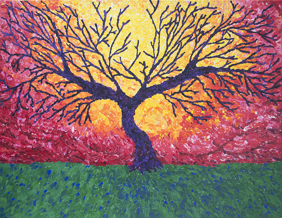 "First Place, $750 Pat Harrison Scholarship Kristin Sease Junior, Austin High School Tree of Imagination 28"" x 32"" acrylic"