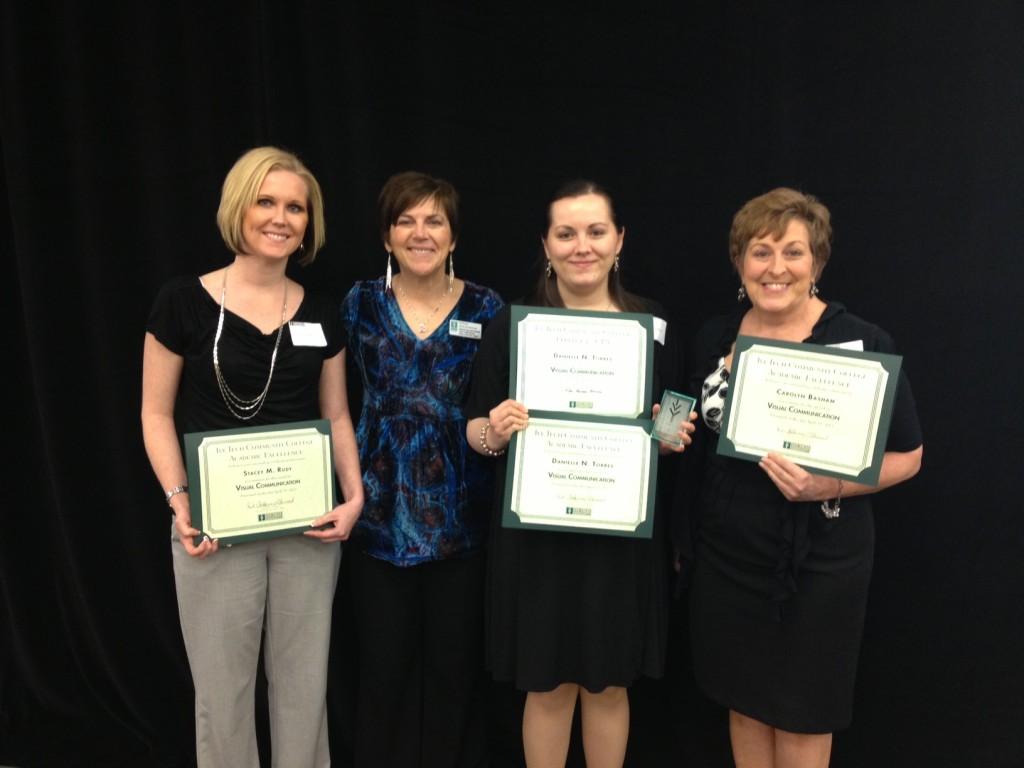 Student, Stacey Rudy, Academic Excellence Award Nominee; Program Chair, Susan Mackowiak; student, Danielle Torres, Perfect 4.0 GPA Award recipient and Academic Excellence Award Nominee and Recipient; and student, Carolyn Basham, Academic Excellence Award Nominee at Ivy Tech Southern Indiana on Friday, April 19, 2013.