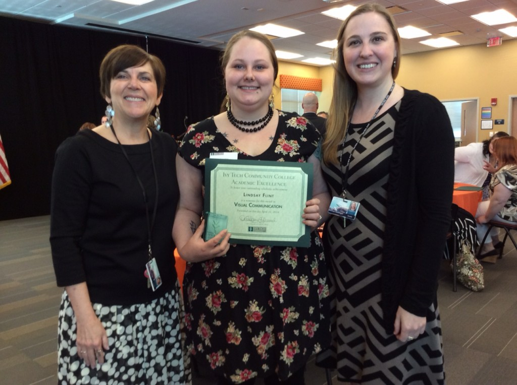 Lindsay Flint (centered) pictured with Program Chair, Susan Mackowiak (left) and Photography Instructor, Melissa Dettlinger (right).