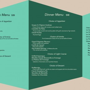 Honorable Mention | Barbara Renners | Restaurant Menu
